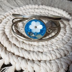 Blue and White Silver Flower Cuff Bracelet